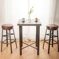 微量元素 手感工業風美式吧台桌椅組/一桌二椅-長60X寬60X高91公分