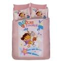 超人氣卡通 朵拉(dora)『雙人鋪棉涼被』森林玩伴 粉色