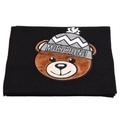 MOSCHINO 經典毛帽小熊玩偶圖案造型混羊毛針織圍巾(黑色)
