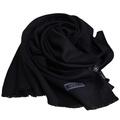 MOSCHINO 品牌字母圖騰LOGO高質感素雅義大利製披肩圍巾(黑色)