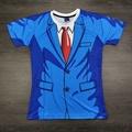 3D搞怪创意肌肉男士假两件西装t恤上衣 肤色肌肉男装伴郎表演衣服
