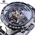 shop Forsining Transparent Case Open Work Silver Stainless Steel Mechanical Skeleton Sport Wrist Wat