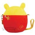 〔小禮堂〕迪士尼 小熊維尼 絨毛造型斜背手機包《黃紅.耳朵》後方透明袋設計