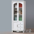 【優利亞-凡絲法式】2.7尺半實木三抽書櫃