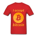 Printing I Accept Bitcoin Summer Cash cotton t-shirt Red