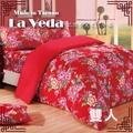 極致純棉 雙人三件組床包+枕套組-客家花布#24