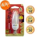 【太星電工】福祿壽LED神明燈泡 0.8W/E12/小尖黃(6入) A229L