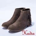 kadia.韓風美型側流蘇低跟靴(棕色)