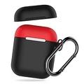 AHAStyle 撞色掛鉤款 AirPods 專用保護套 紅色上蓋+黑色保護套