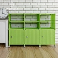 【藤立方】組合2層6格收納置物架(3門板+3隔板+附輪)-綠色-DIY