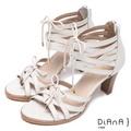 DIANA羅馬造型綁帶涼跟鞋-米7011-10