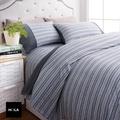 【HOLA】HOLA home 自然針織條紋床包加大 城市灰