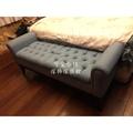 台中可愛小舖傢俱法歐美英式鄉村風藍色棉麻沙發咖啡色椅腳五呎5尺雙人扶手掀蓋式收納置物床尾椅腳凳拉扣可挑花布可訂製尺寸台灣