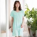 華歌爾睡衣-舒爽冰涼M-L圓領短袖家居短褲裝(綠)緹織涼感紗