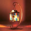 創意質感居家擺設咖啡廳浪漫情境藝術品仿舊歐風雜貨裝飾鐵藝彩色鑲嵌玻璃懸掛燭台光盒-方塊