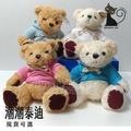 現貨 §神秘貓§ 【21cm】 超低批貨價 潮潮泰迪熊 有吊牌 咖啡白兩色 絨毛娃娃 彩色連帽T 夾娃娃機可用