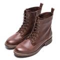 DIANA牛壓紋布綁帶圓頭低跟短靴-棕7905-46