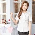 襯衫--超質感甜心OL胸前荷葉邊設計彈性細條紋襯衫(白.粉S-3L)-H97眼圈熊中大尺碼