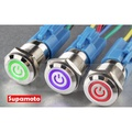 -Supamoto- 自鎖 金屬 開關 防水 觸控 觸碰 12V 天使眼 帶燈 LED 不鏽鋼