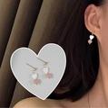 Kitch 奇趣設計 粉色天然石愛心貝殼耳環耳針