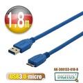 曜兆 USB3.0A公轉microB公線*1.8公尺藍色