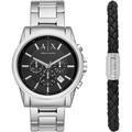 國百分百【Armani Exchange】配件 AX 手錶 腕錶 大表面 三眼 計時 不鏽鋼 銀色錶帶 J754