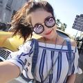 ★太陽眼鏡墨鏡女圓臉潮個性同款偏光粉色可配近視有帶度數太陽眼鏡