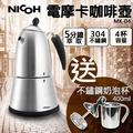 限時優惠3/14-3/19  【送不鏽鋼奶泡杯400ml】日本NICOH 電摩卡咖啡壺 MK-04 304不鏽鋼奶泡杯