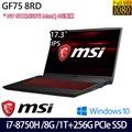 【MSI】微星17.3吋/i7-8750H六核/8G/1TB+256G SSD/GTX1050Ti Max-Q獨顯/Win10電競筆電(GF75 8RD-016TW)