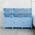 【藤立方】組合2層6格收納置物架(3門板+3隔板+附輪)-粉藍色-DIY