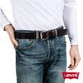 Levis 男款深咖啡針扣真皮皮帶