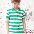 【Kilei】休閒撞色橫條紋POLO衫XA1450(率性綠白)賠售特價