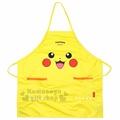 〔小禮堂〕神奇寶貝Pokémon 皮卡丘 三件式防水圍裙組《黃.大臉》圍兜.工作服