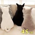 療癒系背影貓咪抱枕靠墊 45CM 黑色