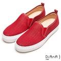 DIANA 休閒樂活--几皮網狀洞洞彈力透氣休閒鞋-紅