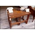 美國古董長方形變形實木桌椅組 桌面可變大 復古老桌子[TABLE-0116]