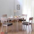【RICHOME】安妮可延伸實木圓形餐桌椅組(一桌四椅)-2色-宅+組