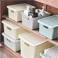 免運 收納生活 簡約塑料 仿藤編 收納箱 居家 有蓋 防塵 收納 儲物盒 整理箱