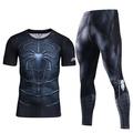 Men Compression Shirt Men 3D Printed Pattern Superman Workout Compression Tights Gym Fitness TShirt Pants Quick Dry Sets(SpiderBlack) - intl