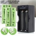 【電池王】18650鋰電池 2600mAh(4顆入)+專用充電器組+送專用防潮盒*2