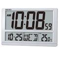 SEIKO精工 塑膠外殼 大型LCD螢幕顯示時鐘/日期/星期/溫度 座掛兩用電子掛鐘 (原廠公司貨)型號:QHL080S