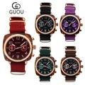 GUOU 方形琥珀帆布錶(8218)