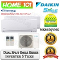 Daikin Dual Split Smile Series Aircon [System 2] Avaliable in MKS65QVMG [CTKS25 (1 HP) x 2] WITH *Replacement Services*