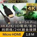 【Max+】原廠保固 Micro HDMI to HDMI 4K影音傳輸線 1.8M