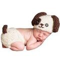 新生兒寶寶可愛狗狗造型寶寶攝影服服裝/滿月百天服裝拍照服/毛線帽子/攝影針織服