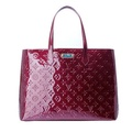 LV M91646經典Monogram Wilshire MM漆皮手/肩背包( 中-紫紅)