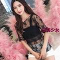 2019春夏韓版內搭上衣性感洋氣網紗鏤空打底衫女蕾絲仙氣短袖T恤