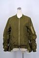 CK0105韓國綠色皺褶袖棒球外套