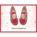 【Kinloch Anderson 金安德森】女童經典格紋蝴蝶結娃娃鞋 (俏皮紅)