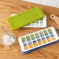 14冰格 按鈕設計矽膠附蓋製冰盒